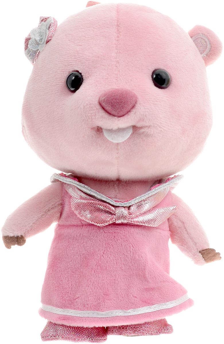 Мульти-Пульти Мягкая озвученная игрушка Бобриха Лупи 18 смV92262/18Мягкая озвученная игрушка Мульти-Пульти Бобриха Лупи - одна из главных героинь мультфильма Пингвиненок Пороро. На Лупи надето красивое розовое платье с блестящим бантиком. Возле уха имеется красивая заколка, которая сочетается с нарядным костюмом. С игрушкой можно играть не только дома, но и брать с собой, так как она обладает небольшим размером. Нажав мягкой игрушке на живот, вы услышите фразы из мультфильма. Игрушка работает от незаменяемых батареек.