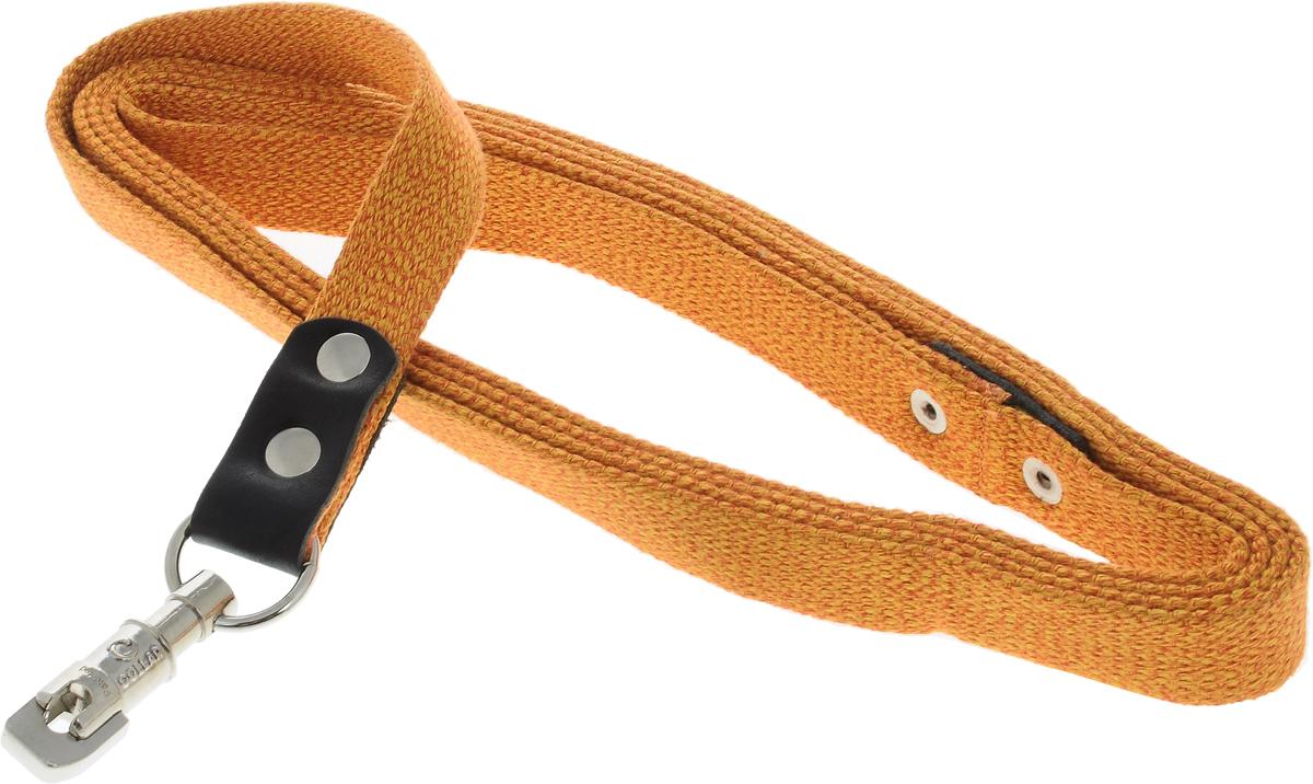 Поводок для собак CoLLaR, цвет: оранжевый, ширина 2,5 см, длина 3 м03434Поводок для собак CoLLaR изготовлен из хлопка и снабжен металлическим карабином. Поводок отличается не только исключительной надежностью и удобством, но и ярким дизайном. Он идеально подойдет для активных собак, для прогулок на природе и охоты. Поводок - необходимый аксессуар для собаки. Ведь в опасных ситуациях именно он способен спасти жизнь вашему любимому питомцу. Длина поводка: 3 м. Ширина поводка: 2,5 см.