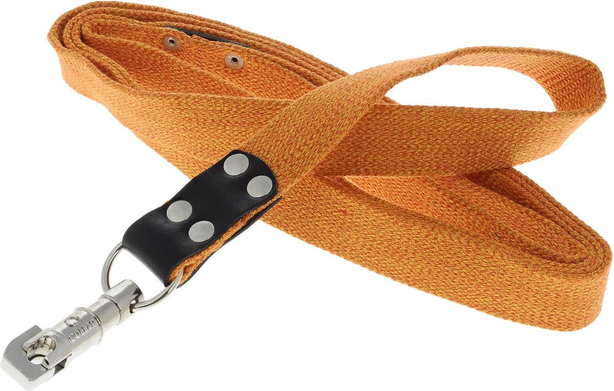 Поводок для собак CoLLaR, цвет: оранжевый, ширина 3,5 см, длина 3 м03454Поводок для собак CoLLaR изготовлен из хлопка и снабжен металлическим карабином. Поводок отличается не только исключительной надежностью и удобством, но и ярким дизайном. Он идеально подойдет для активных собак, для прогулок на природе и охоты. Поводок - необходимый аксессуар для собаки. Ведь в опасных ситуациях именно он способен спасти жизнь вашему любимому питомцу. Длина поводка: 3 м. Ширина поводка: 3,5 см.