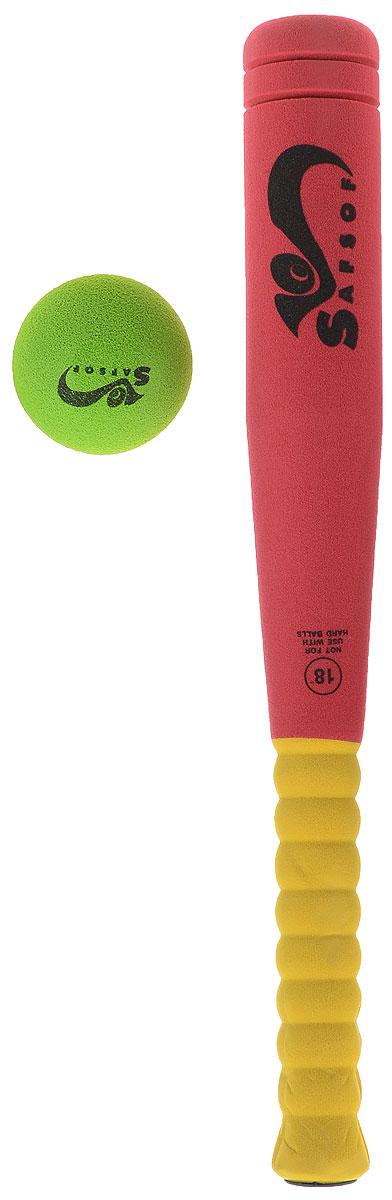 Safsof Игровой набор Бейсбольная бита и мяч цвет красный желтый зеленыйBB-18_красный, желтый, зеленыйИгровой набор Safsof, изготовленный из вспененной резины, включает бейсбольную биту и мяч. Такой набор непременно пригодится вам, если вы собрались приобщиться к такой увлекательной игре, как бейсбол. Сегодня профессиональный бейсбол привлекает на стадионы миллионы зрителей и развлекает миллионы людей, которые слушают или смотрят трансляции по радио и телевидению. Благодаря яркой расцветке и легкому мягкому материалу, игра в бейсбол будет не только интересной, но и безопасной. Такой набор станет отличным подарком для маленького спортсмена и будет незаменим на летнем отдыхе.