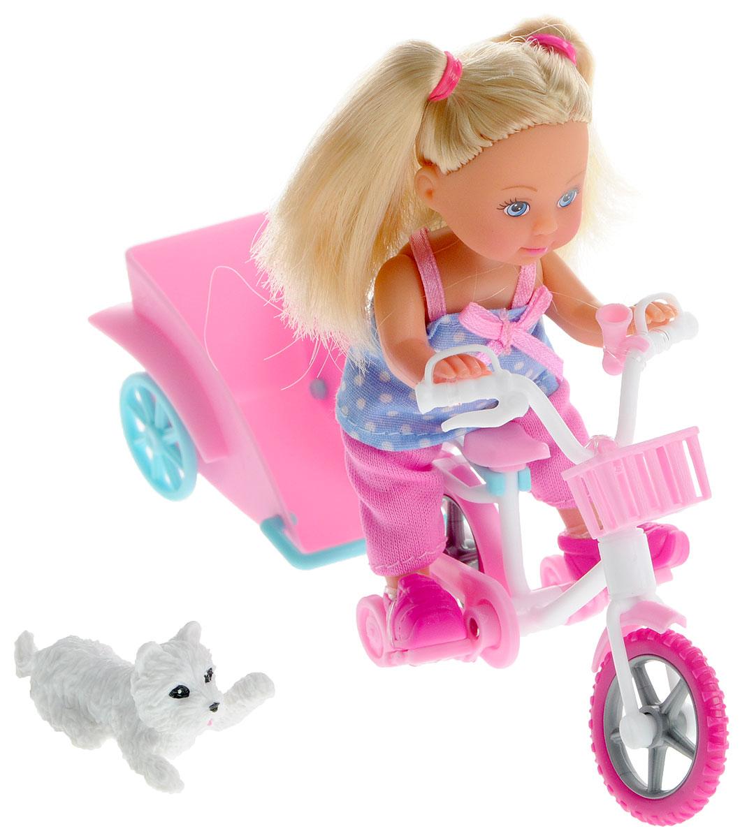 Simba Игровой набор с мини-куклой Bike Tour5730783У чудесной куколки Еви есть велосипед, собачка и даже специальная тележечка для перевозки питомца. Еви очень любит велосипедные прогулки и всегда заботится о безопасности: надевает модный розовый шлем. Вашей крошке обязательно понравится играть с куколкой Еви. Набор выполнен из высококачественного материала, абсолютно безопасного для здоровья вашей малышки.