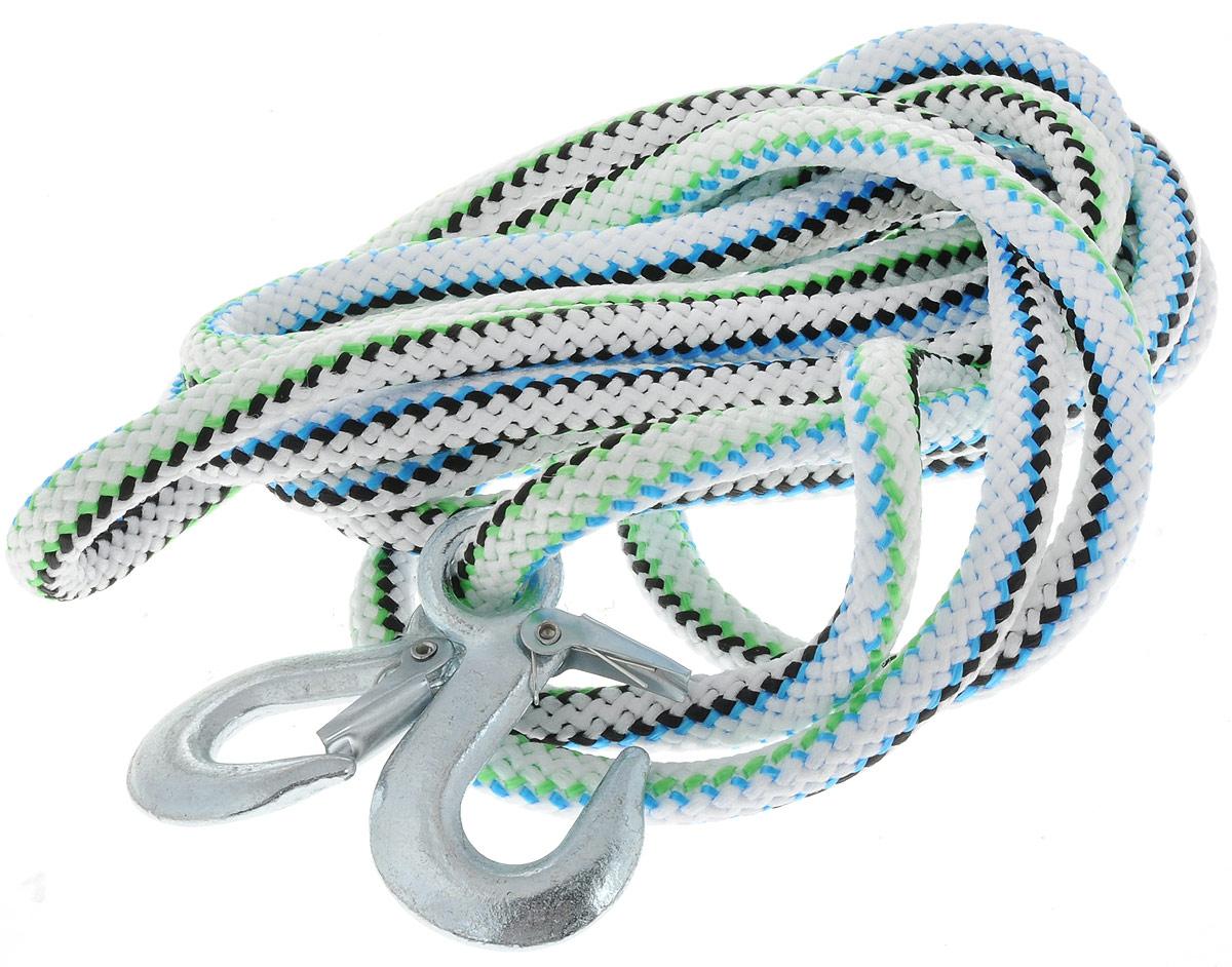 Трос-шнур альпинистский Главдор, с 2 крюками, цвет: белый, салатовый, голубой, диаметр 16 мм, 5 т, 4,73 мGL-253Альпинистский трос Главдор представляет собой шнур из сверхпрочной полипропиленовой нити с двумя стальными крюками. Специальное плетение веревки обеспечивает эластичность троса и плавный старт автомобиля при буксировке. На протяжении всего срока службы не меняет свои линейные размеры. Трос морозостойкий и влагостойкий. Длина троса соответствует ПДД РФ. Буксировочный трос обязательно должен быть в каждом автомобиле. Он необходим на случай аварийной ситуации или если ваш автомобиль застрял на бездорожье. Максимальная нагрузка: 5 т. Длина троса: 4,73 м. Диаметр троса: 16 мм.