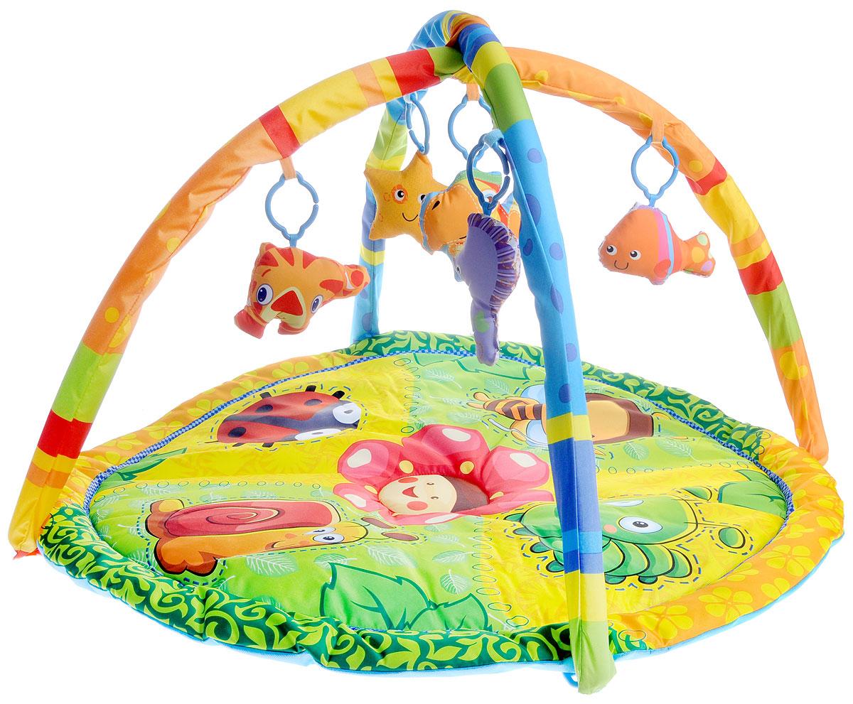 Умка Развивающий коврик B1387961-RB1387961-RРазвивающий коврик Умка прекрасно подойдет для развития ребенка с 6 месяцев. Изделие оснащено съемными безопасными дугами. На них при помощи незамкнутых пластиковых колечек крепятся 5 игрушек с пищалкой. На поверхности коврика изображена лесная полянка с красивым цветочком по центру и забавными насекомыми в виде пчелки, улитки, гусеницы и божьей коровки, которых кроха будет рассматривать, лежа на животе. Нажимая на игрушки, кроха развивает хватательные рефлексы и звуковое восприятие, а также запоминает как выглядят животные и учится различать цвета. С таким ковриком ребенок узнает о животных и насекомых, разовьет слуховое восприятие, мелкую моторику рук и координацию движений. Коврик выполнен из прочного и приятного на ощупь материала, который окрашен стойкими к истиранию, абсолютно безопасными красителями.