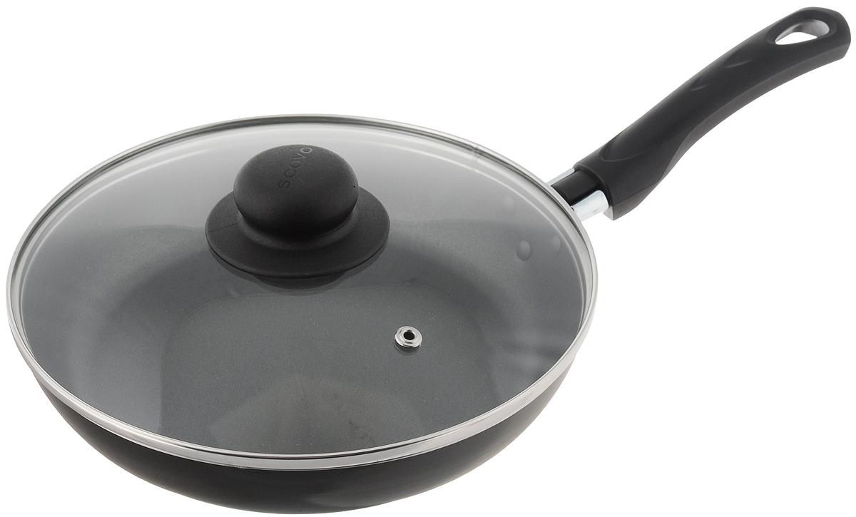 Сковорода Scovo Consul  с крышкой, с антипригарным покрытием. Диаметр 22 смRC-008Сковорода Scovo Consul  выполнена из алюминия с антипригарным покрытием. Такое покрытие исключает прилипание и пригорание пищи к поверхности посуды, обеспечивает легкость мытья посуды, исключает необходимость использования большого количества масла, что способствует приготовлению здоровой пищи с пониженной калорийностью. Сковорода оснащена крышкой и удобной пластиковой ручкой. Крышка, выполненная из термостойкого стекла, позволяет следить за процессом приготовления, не открывая ее. Специальное отверстие для выхода пара предотвращает выкипание. Сковорода подходит для газовых, электрических и стеклокерамических плит. Также ее можно мыть в посудомоечной машине. Диаметр сковороды (по верхнему краю): 22 см. Длина ручки: 15,5 см. Высота стенки: 4 см.