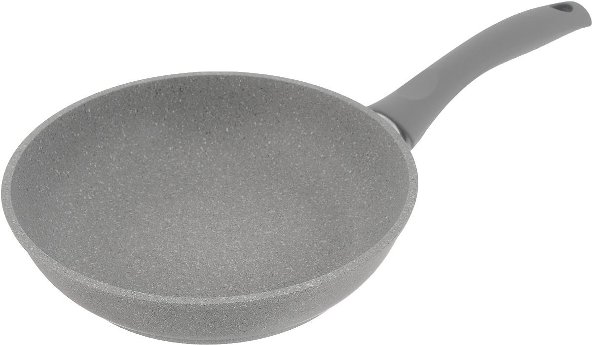Сковорода Кукмор, с мраморным покрытием. Диаметр 26 смсмс227аСковорода Кукмор изготовлена из высококачественного алюминия с внутренним мраморным покрытием. С таким покрытием пища не пригорает и посуда легко моется. Благодаря прочному дну происходит идеальное и равномерное распределение тепла. Сковорода имеет удобную ручку, изготовленную из ненагревающегося материала. Подходит для всех плит, кроме индукционных. Диаметр сковороды (по верхнему краю): 26 см. Высота стенки сковороды: 6 см. Длина ручки сковороды: 18 см.