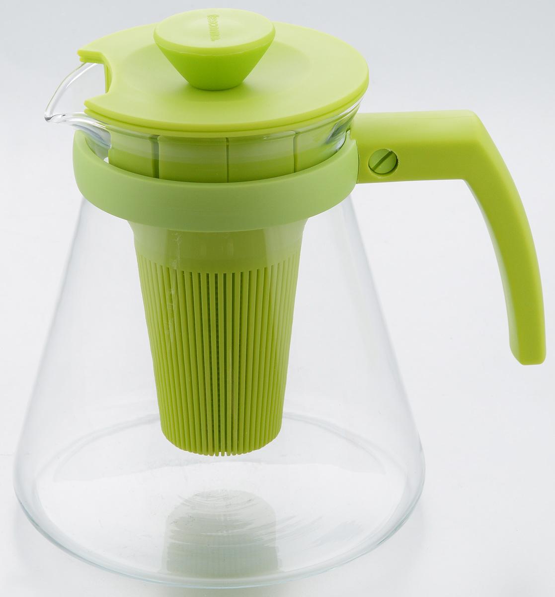 Чайник заварочный Tescoma Teo Tone, с ситечком, цвет: салатовый, прозрачный, 1,25 л646623.25Чайник заварочный Tescoma Teo Tone предназначен для подготовки и сервировки всех видов чая и чайных напитков. Чайник снабжен глубоким ситечком для заваривания свежей мяты, мелиссы, имбиря, сушеного шиповника, фруктов, а также очень густым ситечком для заваривания всех видов рассыпного чая. Корпус чайника изготовлен из термостойкого боросиликатного стекла, поэтому его можно ставить на плиту. Ручка, крышка и ситечко изготовлены из прочного пластика. Чайник подходит для газовых, электрических и стеклокерамических плит, микроволновой печи. Не рекомендуется мыть в посудомоечной машине. Инструкция по использованию внутри упаковки. Диаметр (по верхнему краю): 10 см. Диаметр основания: 14 см. Высота: 16 см.