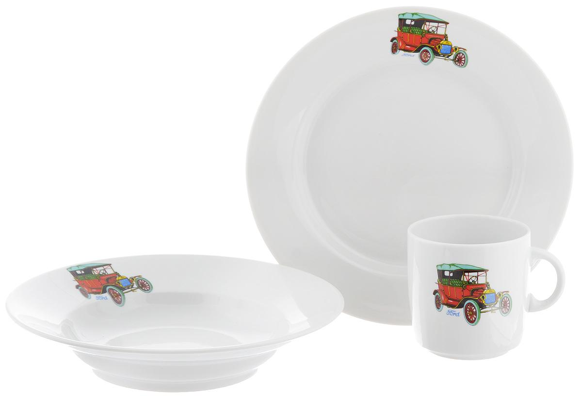 Набор детской посуды Фарфор Вербилок Машинки. Ford, 3 предмета18132390Набор посуды Машинки. Ford изготовлен из высококачественного экологически чистого фарфора. В набор входят 3 предмета: кружка детская, плоская тарелка и тарелка для супа. Посуда оформлена красочными рисунками автомобиля. Набор, несомненно, привлечет внимание вашего ребенка и не позволит ему скучать. Порадуйте своего ребенка этим замечательным набором! Диаметр кружки: 7 см. Высота кружки: 7,5 см. Диаметр тарелки для супа: 19,5 см. Высота тарелки для супа: 4 см. Диаметр плоской тарелки: 20 см. Высота плоской тарелки: 2,5 см.