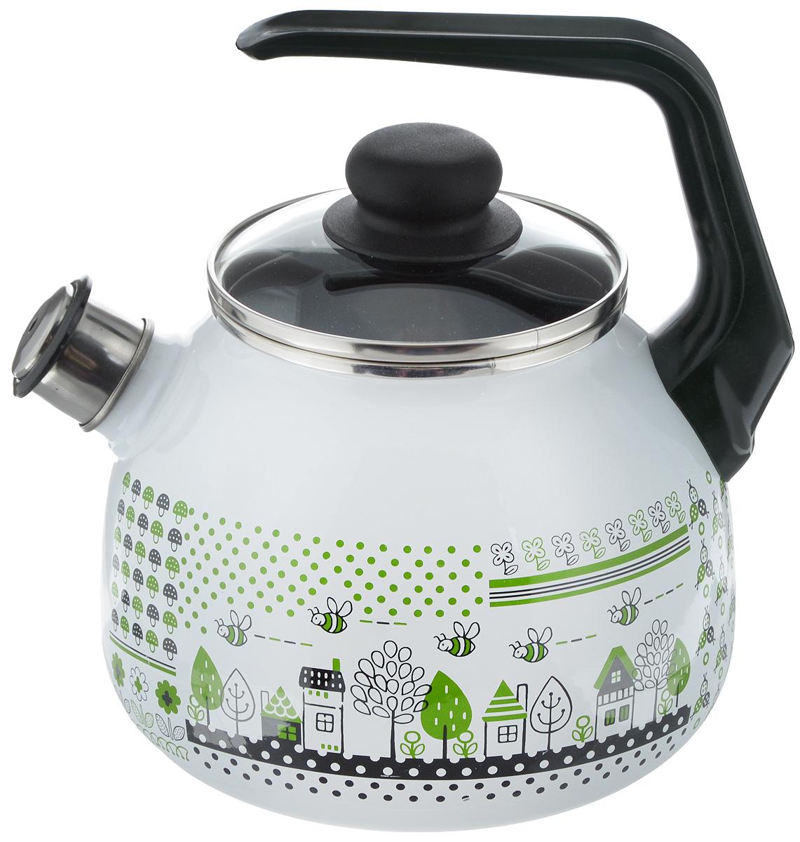 Чайник эмалированный Vitross Green Life, со свистком, 3 л1RC12Чайник эмалированный Vitross Green Life изготовлен из высококачественной стали со стеклокерамическим эмалевым покрытием. Стеклокерамика инертна и устойчива к пищевым кислотам, не вступает во взаимодействие с продуктами и не искажает их вкусовые качества. Такое покрытие защищает сталь от коррозии и придает посуде гладкую стекловидную поверхность. Кроме того, такая посуда наиболее безопасна и экологична. Прочный стальной корпус обеспечивает эффективный нагрев жидкости и не деформируется в процессе эксплуатации. Чайник оснащен фиксированной пластиковой ручкой и жаропрочной стеклянной крышкой. Носик чайника с насадкой-свистком подскажет, когда закипела вода. Посуда подходит для газовых, электрических, стеклокерамических, индукционных плит. Можно мыть в посудомоечной машине. Диаметр (по верхнему краю): 12,5 см. Высота чайника (с учетом ручки): 23,5 см. Высота чайника (без учета ручки и крышки): 15 см.