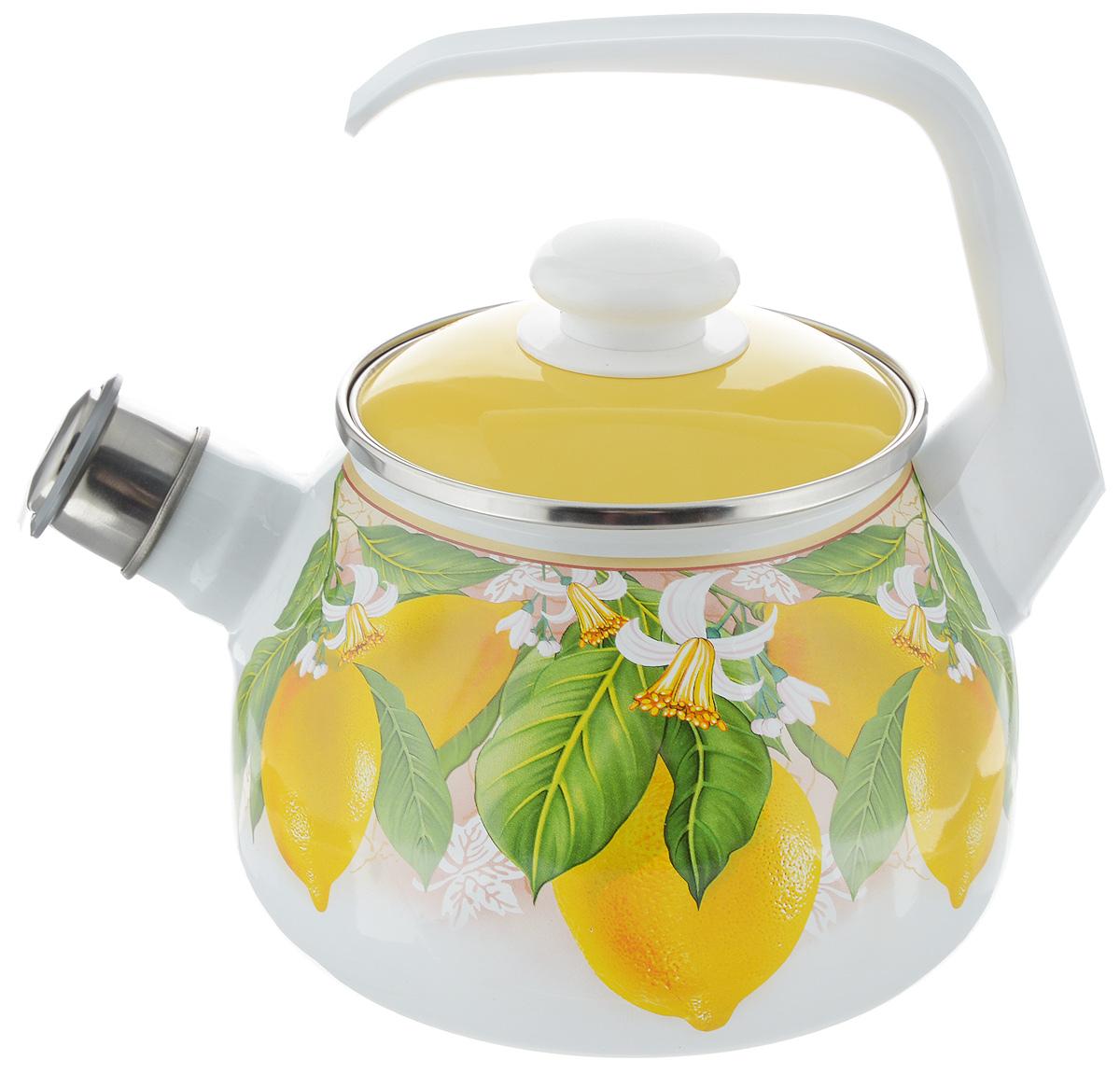 Чайник эмалированный Elros Lemon, со свистком, 2,5 лС-2711АП/6ДРРчЧайник эмалированный Elros Lemon изготовлен из высококачественного стального проката, покрытого двумя слоями жаропрочной эмали. Такое покрытие защищает сталь от коррозии, придает посуде гладкую стекловидную поверхность и надежно защищает от кислот и щелочей. Эмаль не вступает во взаимодействие с продуктами и не искажает их вкусовые качества. Прочный стальной корпус обеспечивает эффективный нагрев жидкости и не деформируется в процессе эксплуатации. Чайник оснащен фиксированной пластиковой ручкой белого цвета и стальной крышкой. Носик чайника с насадкой-свистком подскажет, когда закипела вода. Внешние стенки изделия декорированы красочным изображением лимонов. Посуда подходит для газовых, электрических, стеклокерамических, индукционных плит. Можно мыть в посудомоечной машине. Диаметр (по верхнему краю): 13,5 см. Высота чайника (с учетом ручки): 23 см. Высота чайника (без учета ручки и крышки): 13,5 см.