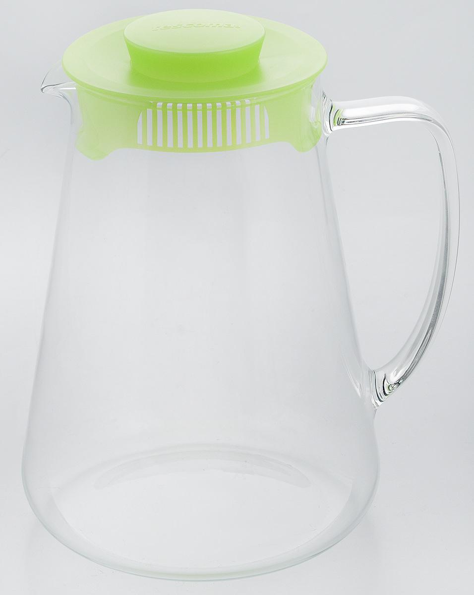 Кувшин Tescoma Teo, с крышкой, цвет: прозрачный, зеленый, 2,5 л646626.25Кувшин Tescoma Teo, выполненный из высококачественного прочного стекла, элегантно украсит ваш стол. Кувшин оснащен удобной ручкой и пластиковой крышкой. Он прост в использовании, достаточно наклонить его и налить ваш любимый напиток. Форма крышки обеспечивает наливание жидкости без расплескивания. Изделие прекрасно подойдет для холодильника и для подачи на стол воды, сока, компота и других напитков, как горячих, так и холодных. Кувшин Tescoma Teo дополнит интерьер вашей кухни и станет замечательным подарком к любому празднику. Можно мыть в посудомоечной машине и использовать на газовых, стеклокерамических и электрических плитах. Диаметр (по верхнему краю): 11 см. Диаметр (по нижнему краю): 16 см. Высота кувшина (с учетом крышки): 23 см.