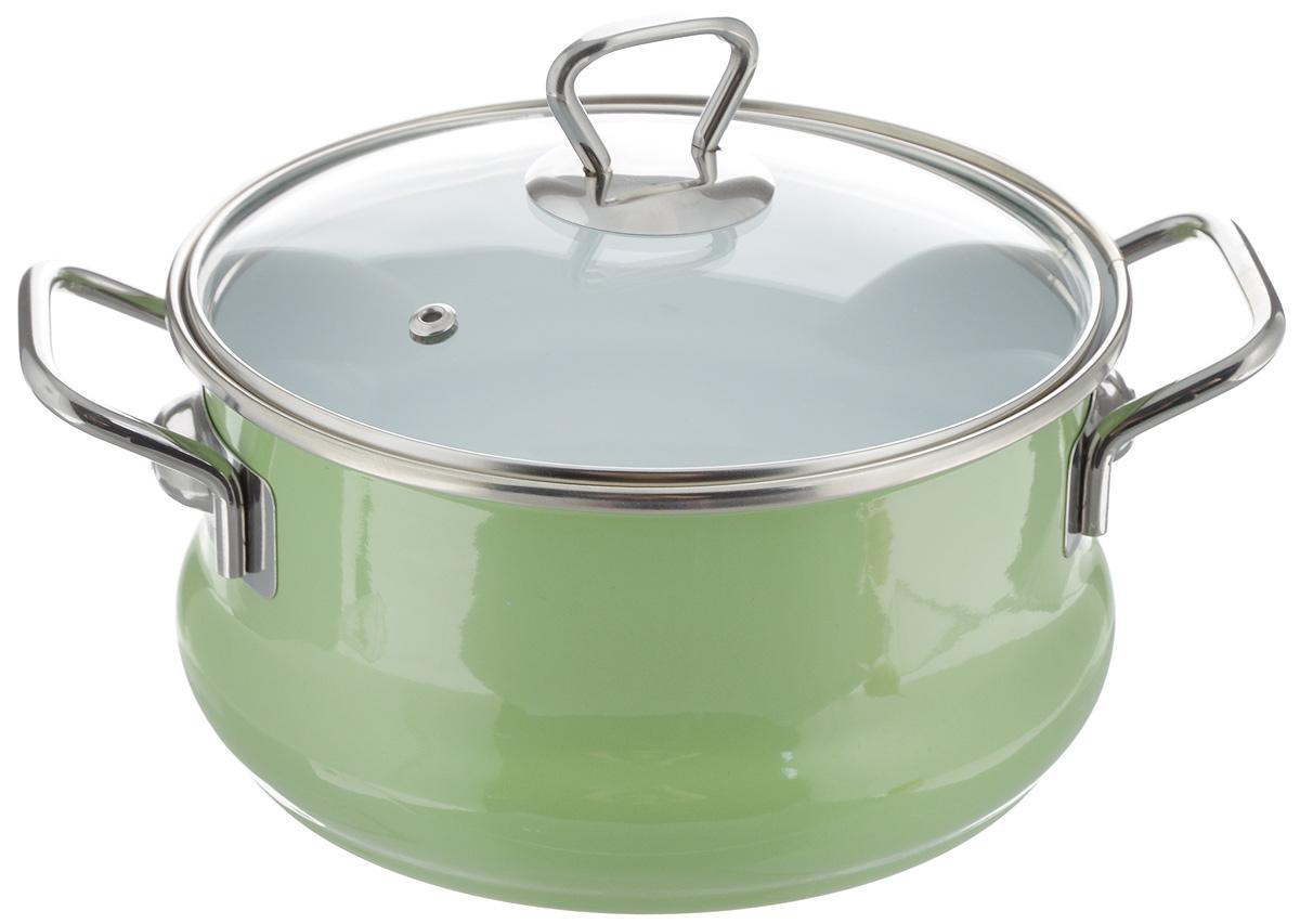 Кастрюля Elros Green Apple, цвет: зеленый, 2,5 лС-2111САП4/3ДСзлКастрюля Elros Green Apple выполнена из высококачественной стали с эмалированным покрытием. Стеклоэмаль инертна и устойчива к пищевым кислотам, не вступает во взаимодействие с продуктами и не искажает их вкусовые качества. Эмалевое покрытие, являясь стекольной массой, не вызывает аллергию и надежно защищает пищу от контакта с металлом. Кроме того, такое покрытие долговечно, оно устойчиво к механическому воздействию, не царапается и не сходит, а стальная основа практически не подвержена механической деформации, благодаря чему срок эксплуатации увеличивается. Кастрюля оснащена крышкой, а также удобными ручками. Подходит для всех типов плит, включая индукционные. Можно мыть в посудомоечной машине. Ширина кастрюли (с учетом ручек): 26 см. Диаметр кастрюли (по верхнему краю): 19,5 см. Высота (без учета крышки): 10 см. Диаметр основания: 17,5 см.