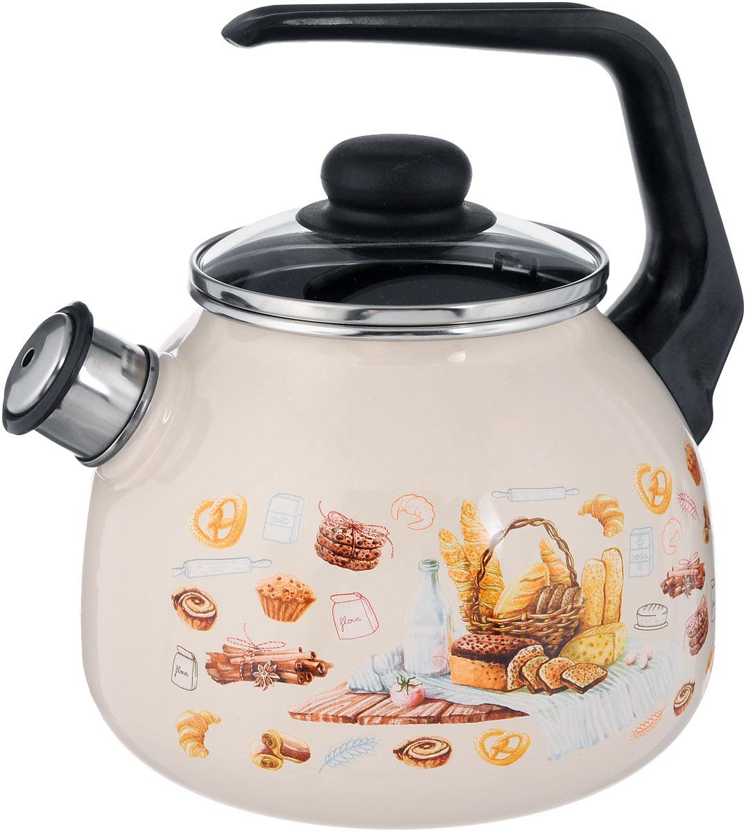Чайник эмалированный СтальЭмаль Хлеб, со свистком, 3 л4с209/яЧайник СтальЭмаль Хлеб выполнен из высококачественного стального проката, покрытого двумя слоями жаропрочной эмали. Такое покрытие защищает сталь от коррозии, придает посуде гладкую стекловидную поверхность и надежно защищает от кислот и щелочей. Носик чайника оснащен свистком, звуковой сигнал которого подскажет, когда закипит вода. Чайник оснащен фиксированной ручкой из пластика и стеклянной крышкой, которая плотно прилегает к краю благодаря особой конструкции. Внешние стенки декорированы красочным изображением различных хлебобулочных изделий. Эстетичный и функциональный чайник будет оригинально смотреться в любом интерьере. Подходит для всех типов плит, включая индукционные. Можно мыть в посудомоечной машине. Диаметр (по верхнему краю): 12,5 см. Высота чайника (с учетом ручки): 24 см. Высота чайника (без учета ручки и крышки): 15 см.