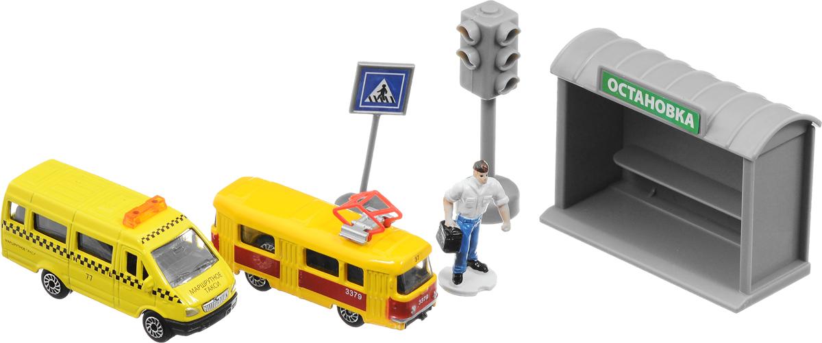 ТехноПарк Игровой набор Городской транспортSB-15-39Игровой набор Городской транспорт предназначен для увлекательной сюжетно-ролевой игры. В наборе имеется фигурка человека, остановка, дорожный знак, светофор и два городских транспорта. С этим набором можно создать свой собственный город, сочетая эти предметы с другими машинками или автобусами.