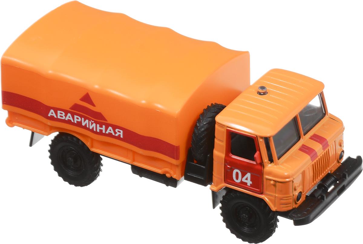 ТехноПарк Машинка инерционная ГАЗ-66 АварийнаяCT-1299-2Инерционная машинка ТехноПарк ГАЗ-66 Аварийная, выполненная из пластика и металла, станет любимой игрушкой вашего малыша. Игрушка представляет собой модель автомобиля марки ГАЗ-66 в масштабе 1:43. У машинки открываются дверцы кузова, снимается тент. При нажатии на кнопку на крыше кабины замигают фары, прозвучат звуки сирены и команды диспетчера. Игрушка оснащена инерционным ходом. Машинку необходимо отвести назад, затем отпустить - и она быстро поедет вперед. Прорезиненные колеса обеспечивают надежное сцепление с любой гладкой поверхностью. Ваш ребенок будет часами играть с этой машинкой, придумывая различные истории. Порадуйте его таким замечательным подарком! Машинка работает от 3 батареек LR41 напряжением 1,5V (товар комплектуется демонстрационными).