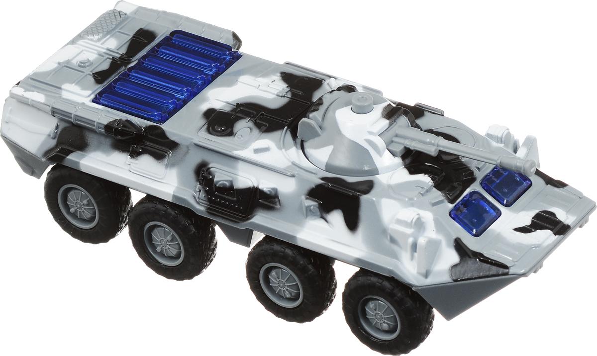 ТехноПарк Бронетранспортер инерционный БТР-80 ОМОНX600-H09077-RБронетранспортер ОМОН с крепким металлически корпусом станет незаменимой игрушкой в военных противостояниях - его прорезиненные колеса и броня позволят доставить к месту конфликта и вооружение, и бойцов. Кроме того, БТР имеет подвижную пушку. Машина оснащена инерционным механизмом, световыми и звуковыми эффектами. Рекомендуется докупить 3 батарейки напряжением 1,5V типа LR41 (товар комплектуется демонстрационными).