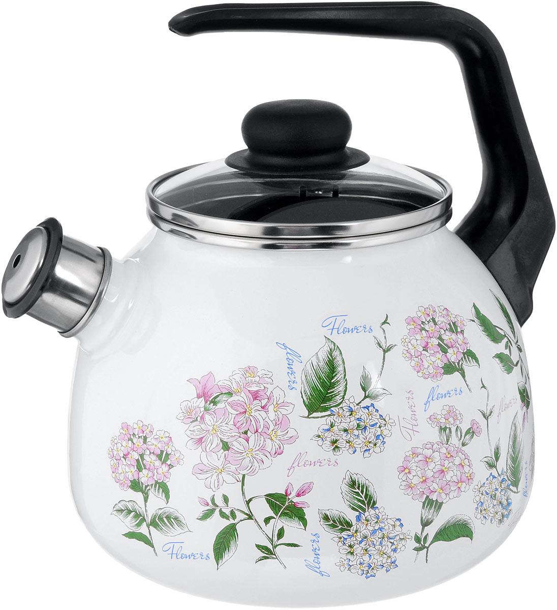Чайник эмалированный Vitross Buket, со свистком, 2 л1RA12Чайник эмалированный Vitross Buket изготовлен из высококачественного стального проката со стеклокерамическим эмалевым покрытием. Корпус оформлен изящным цветочным рисунком. Стеклокерамика инертна и устойчива к пищевым кислотам, не вступает во взаимодействие с продуктами и не искажает их вкусовые качества. Прочный стальной корпус обеспечивает эффективную тепловую обработку пищевых продуктов и не деформируется в процессе эксплуатации. Чайник оснащен удобной пластиковой ручкой черного цвета. Крышка чайника выполнена из стекла. Носик чайника с насадкой-свистком позволит вам контролировать процесс подогрева или кипячения воды. Чайник пригоден для использования на всех видах плит, включая индукционные. Можно мыть в посудомоечной машине. Диаметр (по верхнему краю): 12,5 см. Высота чайника (с учетом ручки): 21 см. Высота чайника (без учета ручки и крышки): 12,5 см.