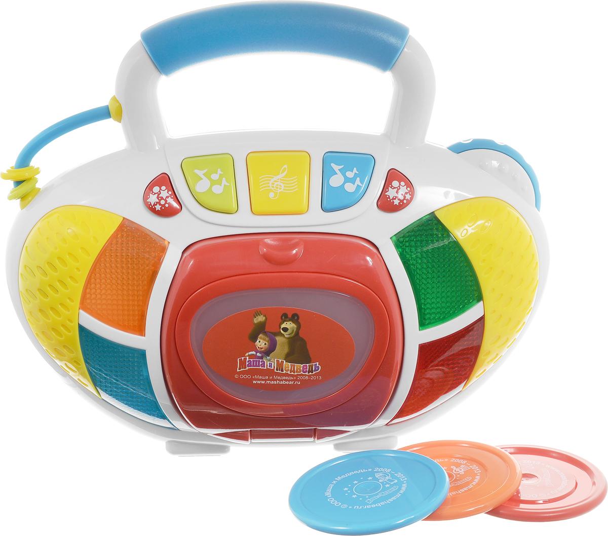 Играем Вместе Развивающая игрушка Мой первый плеер Маша и Медведь4201T-RРазвивающая игрушка Играем вместе Мой первый плеер. Маша и Медведь непременно понравится вашему малышу. Форма плеера выполнена так, что малышу будет удобно держать его в руке и одновременно нажимать на кнопки, меняя режимы. Играя с этим удивительным набором ваш ребенок не только научится работать с техникой, но и будет развивать слух и мелкую моторику рук. Нажимая на яркие светящиеся кнопки, слушая веселые песенки и забавные мелодии, ваш непоседа проведет время увлекательно и с пользой, не скучая ни минуты. В комплекте есть 3 диска с песнями, всего 7 песен. Развивающая игрушка Играем вместе Мой первы плеер. Маша и Медведь способствует развитию речи и музыкальной памяти, моторики и артистизма, визуального и слухового восприятия. Рекомендуется докупить 3 батарейки типа АА (товар комплектуется демонстрационными).