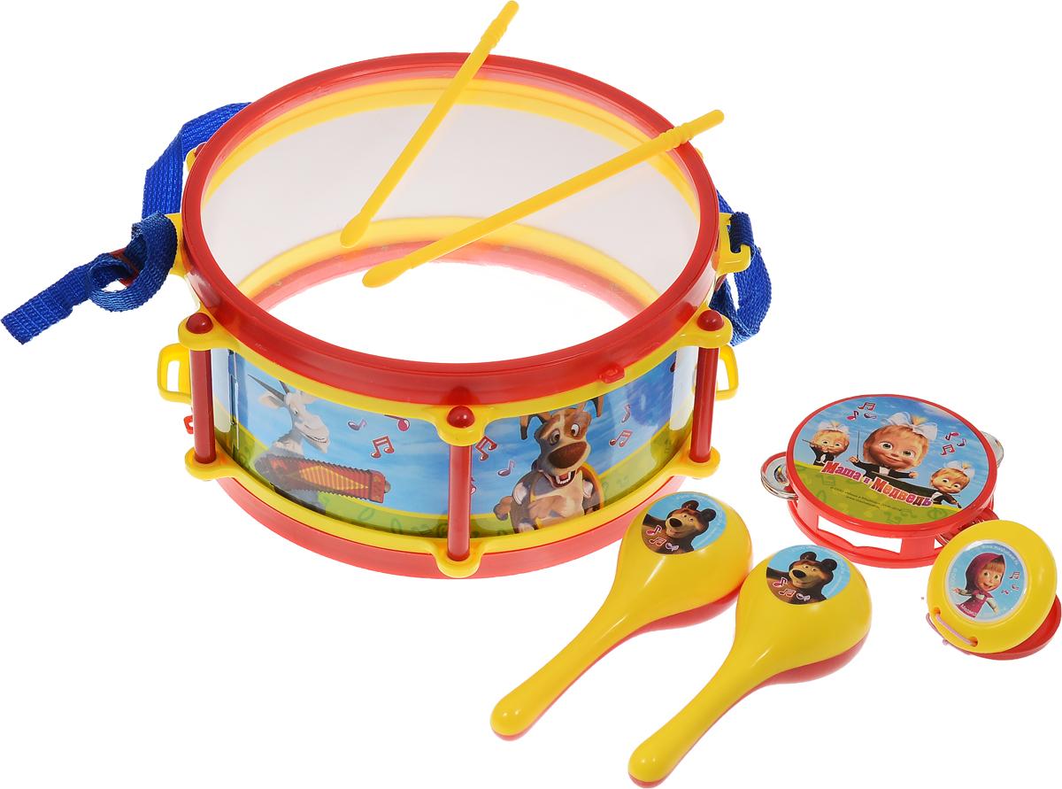 Играем вместе Набор музыкальных инструментов Маша и Медведь 7 предметовB226345-R2Набор музыкальных инструментов Играем вместе Маша и Медведь привлечет внимание вашего ребенка и позволит ему создать незабываемый концерт. Набор включает в себя барабан, 2 барабанные палочки, 2 маракаса, бубен и кастаньету. Предметы набора выполнены в яркой цветовой гамме из прочного пластика и оформлены изображениями героев из мультфильма Маша и Медведь. Малыш сможет увлеченно играть с набором и придумывать свои веселые мелодии. Порадуйте его таким замечательным подарком!