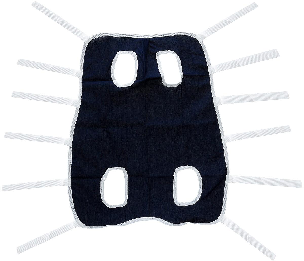 Попона послеоперационная для собак Collar, цвет: темно-синий, белый. Размер 267742Послеоперационная попона для собак Collar выполнена из высококачественной бязи, благодаря чему она хорошо вентилируется. Применяется при перевязке животных. Один слой плотной ткани помогает достичь надежной изоляции раны. Закрепляется при помощи завязок. Обхват груди: 32-60 см. Длина по спинке: 48 см.