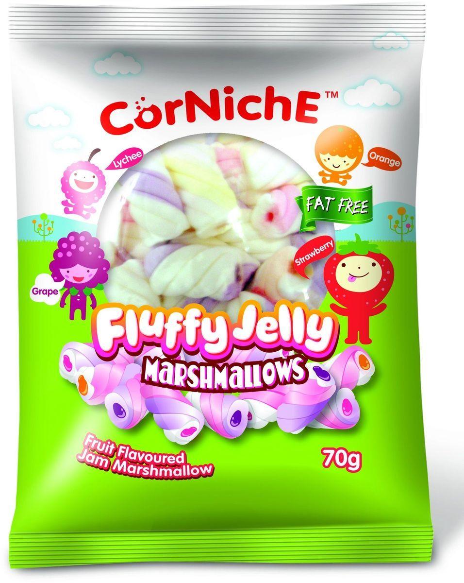 Corniche Marshmallows воздушное желе, 70 гифи050Воздушное желе - это нежные конфетки из маршмелоу с мармеладом внутри, выполненные в виде задорных спиралек, со вкусом апельсина, клубники и винограда. Сладость для праздника и праздник для всех сластен.