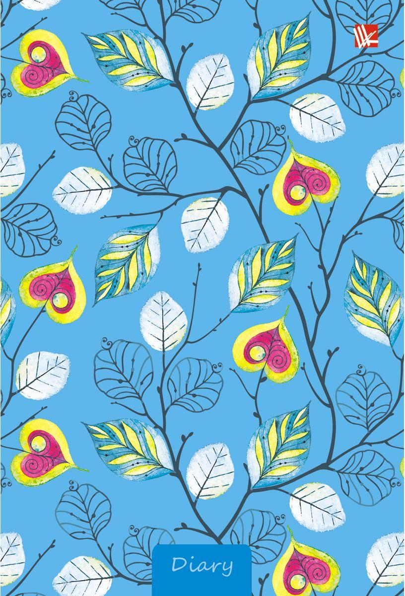 Канц-Эксмо Ежедневник Орнамент Листочки-сердечки недатированный 112 листовЕЖБ17511205Ежедневник недатированный в твердой обложке с поролоном и блестками формата А5-, 112 листов. Форзацы цветные. Бумага офсет 80 г/м2, блоки четырех цветов, ляссе.