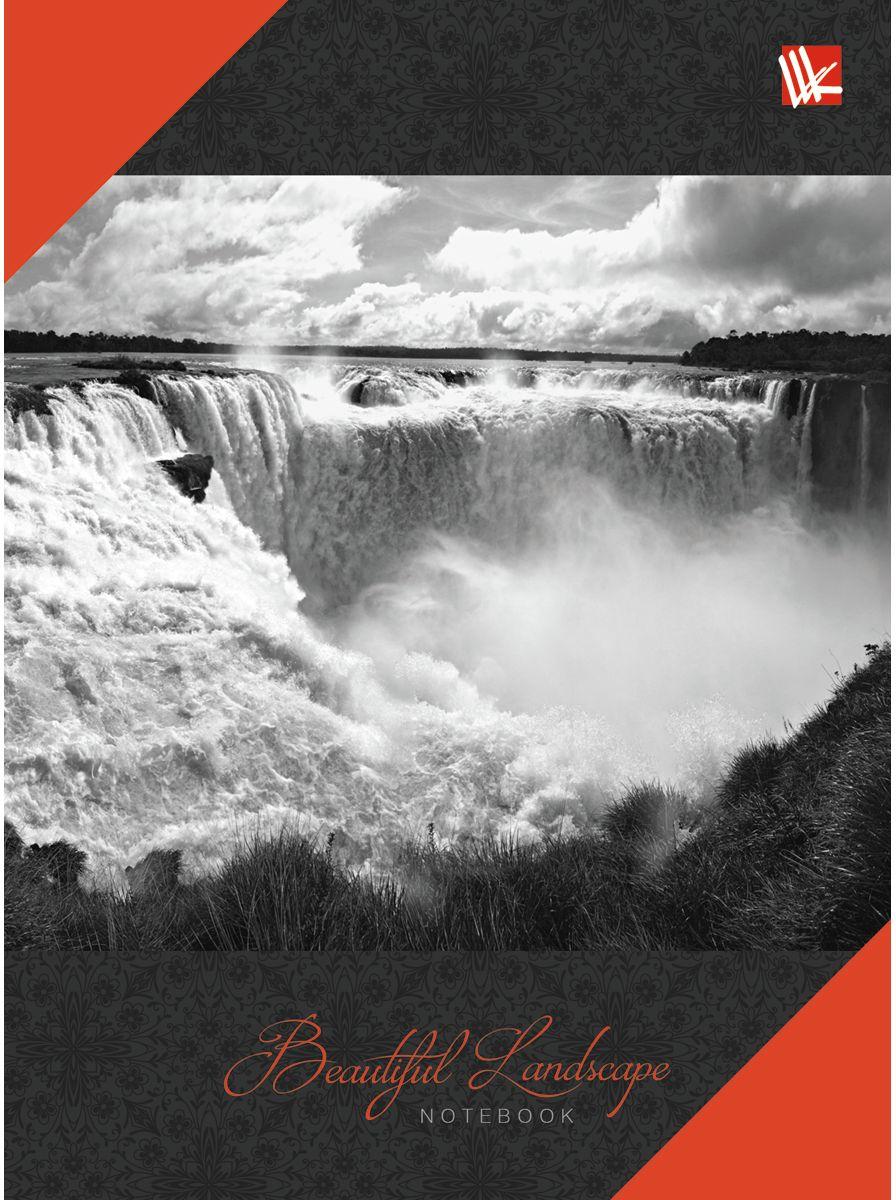 Канц-Эксмо Записная книжка Пейзаж Водопад 64 листа в клетку