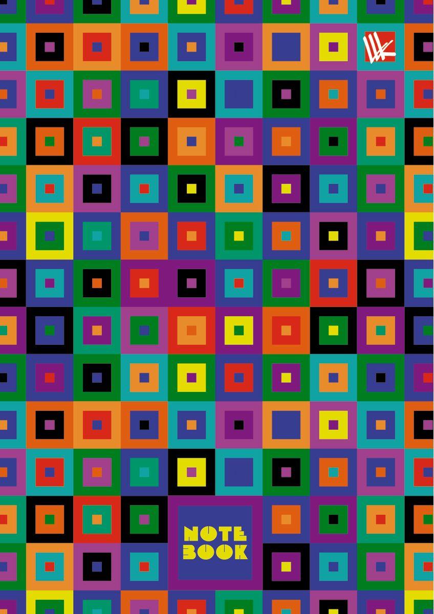 Канц-Эксмо Записная книжка Орнамент Разноцветные квадраты 64 листа в клетку