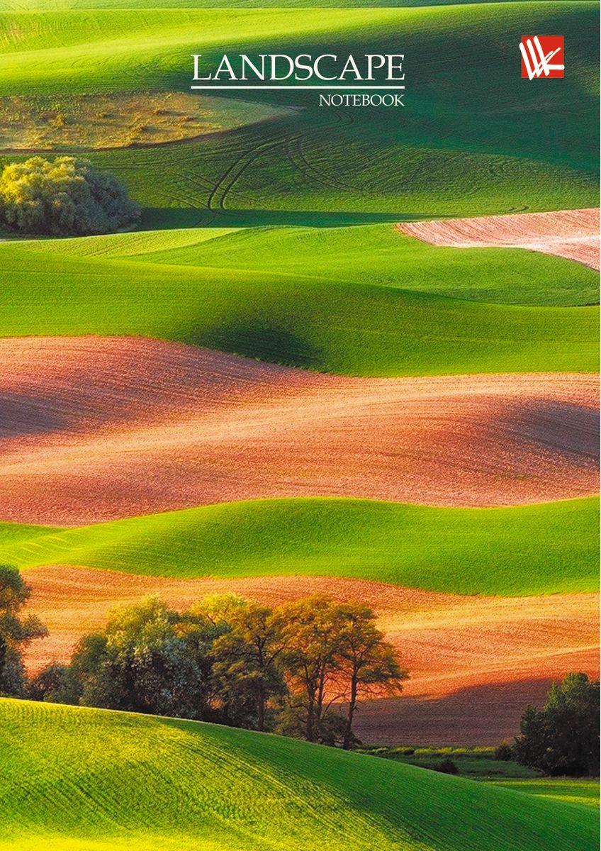 Канц-Эксмо Записная книжка Пейзаж Зеленые поля 64 листа в клетку