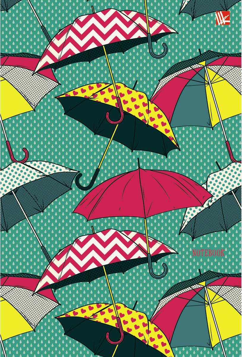 Канц-Эксмо Записная книжка Орнамент Разноцветные зонтики 80 листов в клеткуКЗЛ5802041Записная книжка в твердом переплете с поролоном А5- (132х186), 80 листов. Обложка с матовой ламинацией, выборочным лакированием и блестками. Форзацы цветные. Бумага – офсет 70 г/м2, белая, клетка. Сшитый блок.