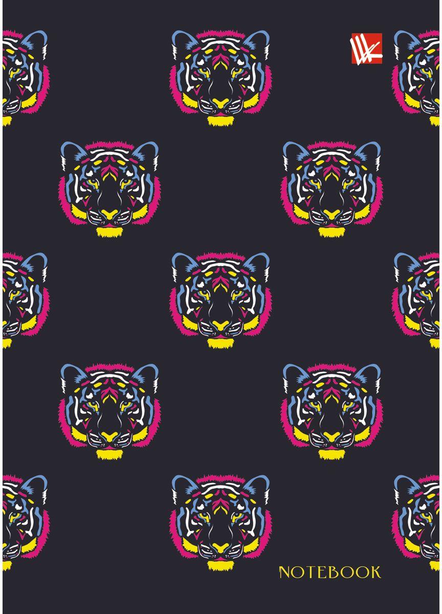 Канц-Эксмо Записная книжка Орнамент Разноцветные тигры 80 листов в клеткуКЗЛ6802180Записная книжка в твердом переплете А6, 80 листов. Обложка с матовой ламинацией и выборочным лакированием. Форзацы белые. Бумага – офсет 60 г/м2, клетка. Сшитый блок.