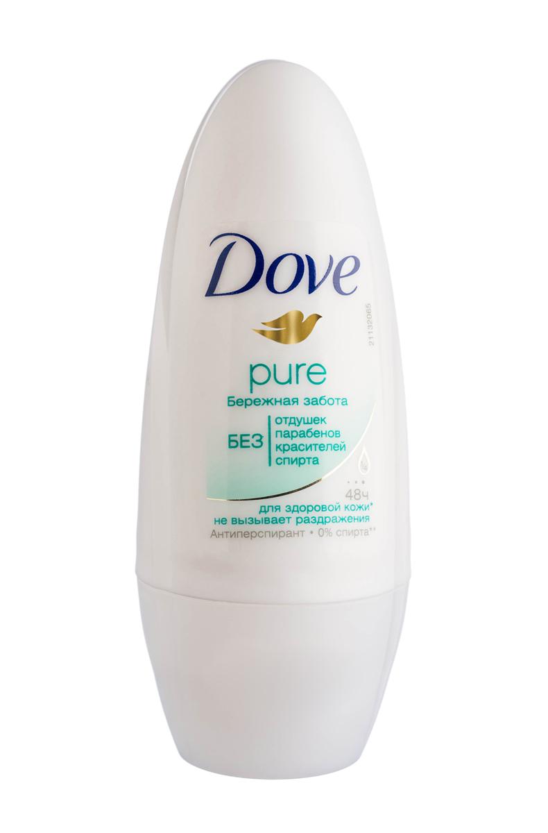 Dove Антиперспирант ролл Бережная забота 50 мл21133798Дезодорант-антиперспирант Бережная забота не только дарит эффективную защиту от влаги и неприятного запаха на 48 часов, но и нежно заботится о коже. Он на 1/4 состоит из увлажняющего крема, благодаря чему питает и способствует восстановлению кожи после бритья. Только действительно самое необходимое для ухода в составе — никаких отдушек, парабенов, спирта и красителей. Только надежная защита и нежная забота. Товар сертифицирован.