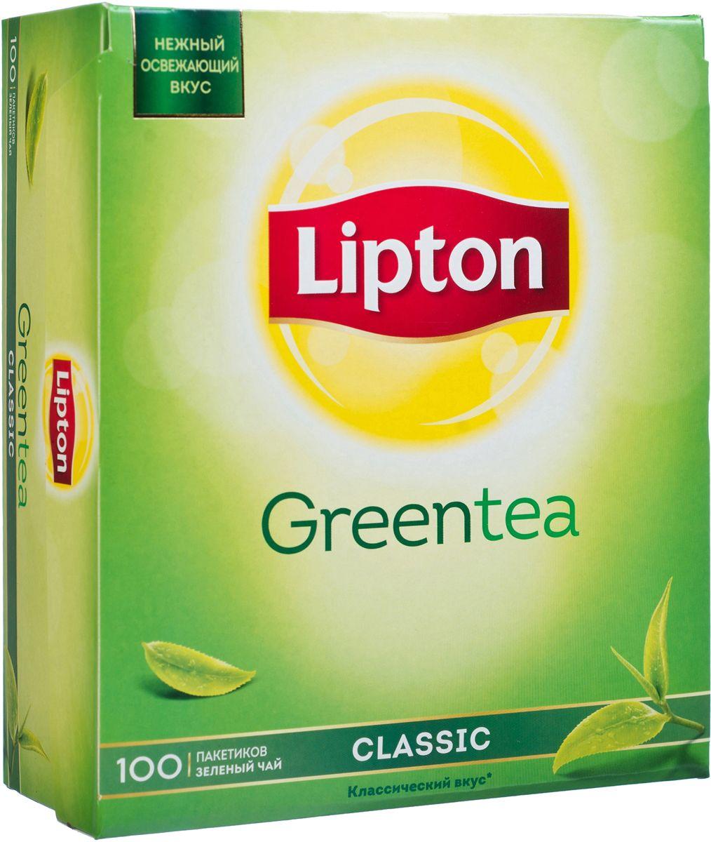 Lipton Зеленый чай Classic 100 шт21155434Нежный и освежающий вкус классического зеленого чая Lipton Green Classic наполняет уравновешенностью и проясняет взгляд на окружающий мир. Молодые чайные листочки, выращенные под теплыми лучами солнца, дарят зеленому чаю Lipton нежный вкус и легкий изысканный аромат, чтобы вы могли насладиться любимым чаем.