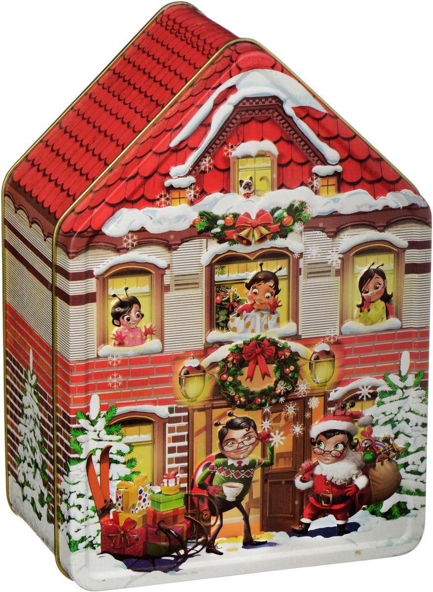 Sweeterella конфеты домик счастья, 170 гиба011Жестяной домик с конгревом, станет интересным подарком для ваших близких и родных! После Новогодних праздников коробочка останется и будет хранить теплые воспоминания! Состав: Шоколадные конфеты в новогодней форме в индивидуальной упаковке с начинками из детства: - Пломбир в темном шоколаде; - Крем-брюле в молочном шоколаде.