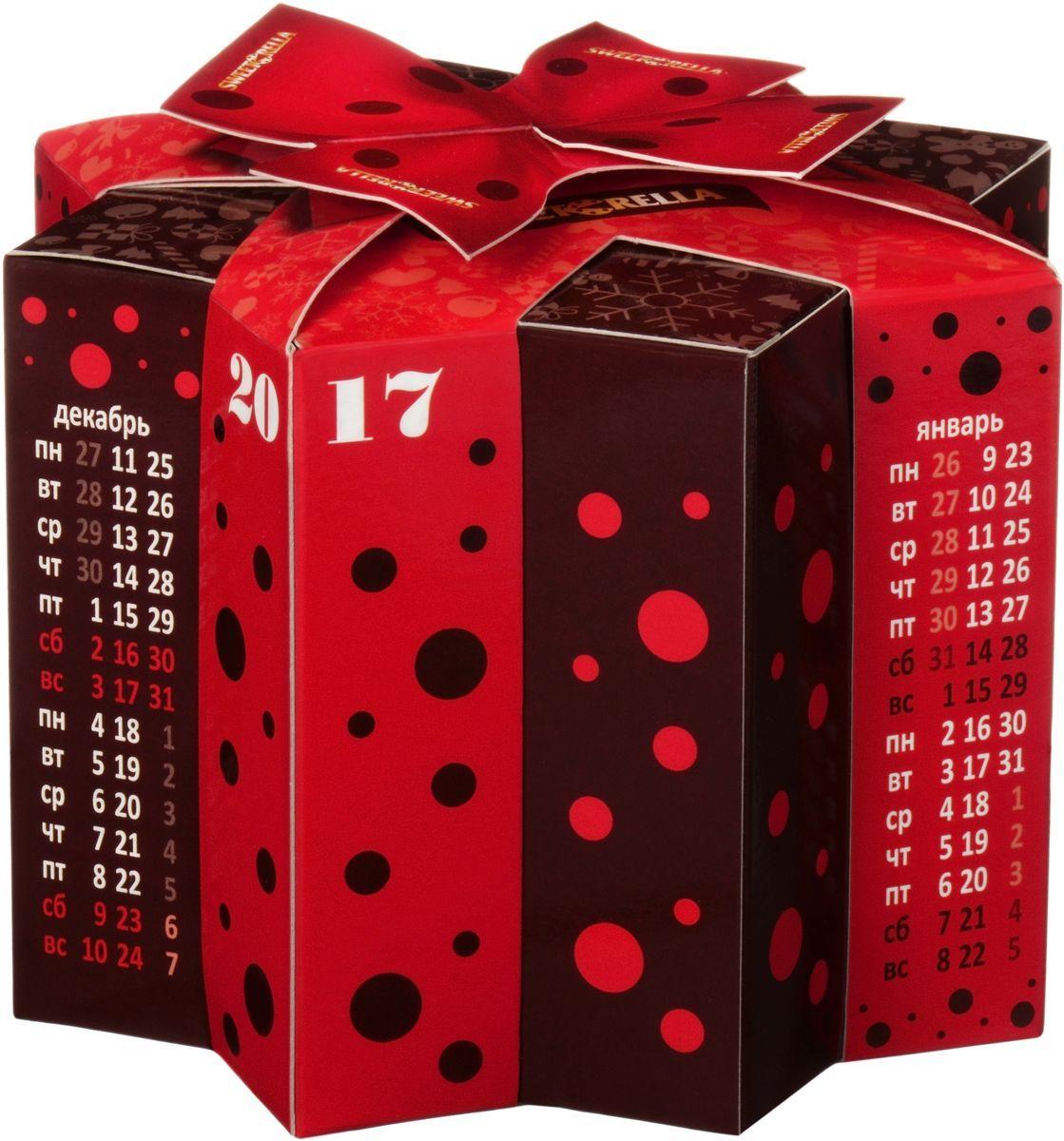 Sweeterella набор шоколадных конфет ручной работы звездочка календарь, 127 гиба042Набор шоколадных конфет в оригинальной упаковке выполненной в форме звездного календаря! Такую упаковку можно использовать в качестве настольного календаря и угощаться конфеткой к чаю. Состав: Набор шоколадных конфет ручной работы из молочного шоколада с шоколадно-сливочной начинкой.