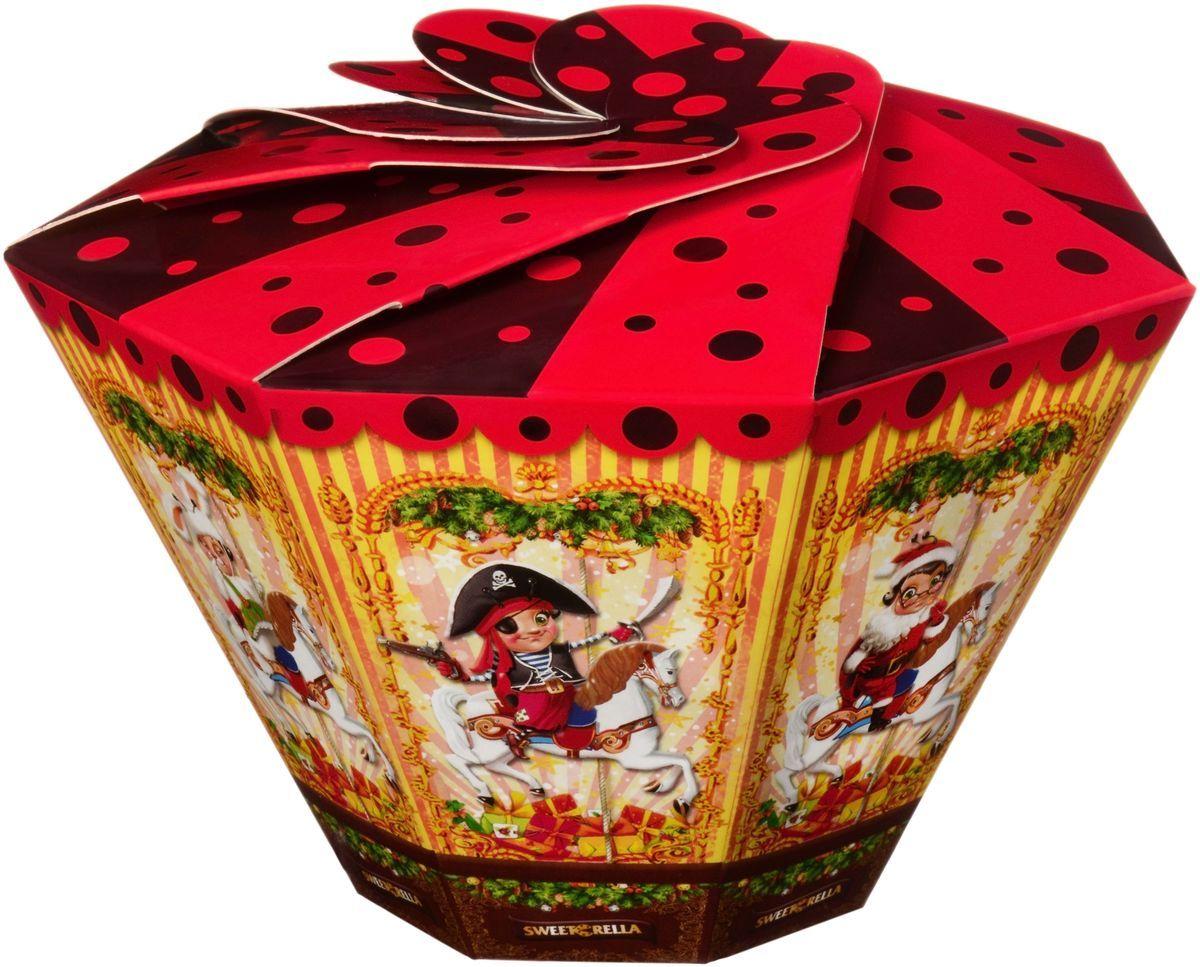 Sweeterella ассорти карусель сладостей, 155 гиба045Новый год – это время подарков! А коробочка выполненная в стиле Рождественской карусели , еще и наполненная ассорти сладостей станет очень интересным вариантом в качестве подарка ! Состав: Ассорти сладостей: - Суфле глазированное шоколадной глазурью со вкусами Ваниль, Банан, Лесные ягоды, Апельсин; - Конфеты, глазированные шоколадной глазурью с сахарно-помадной начинкой со вкусом Йогурт, Тутти-Фрутти, Дыня.