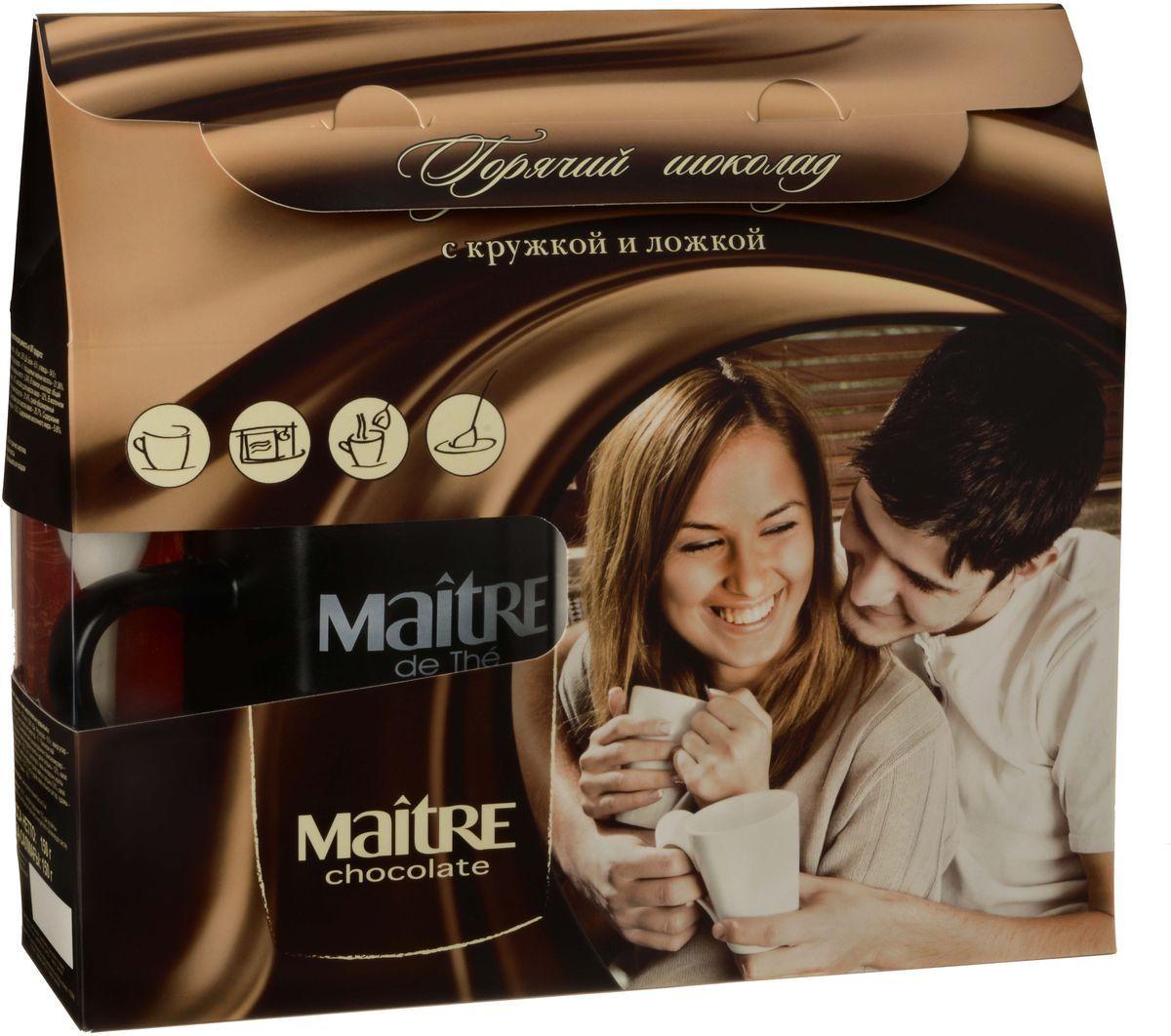 Maitre горячий шоколад, 150 гирш001Подарочный набор Горячий шоколад включает: - Молочный шоколад для разведения в горячем молоке с кокосовой крошкой (в составе 32% какао масла, наполнитель - кокосовая стружка); - Молочный шоколад для разведения в горячем молоке с пряной корицы (в составе 32% какао масла, наполнитель - корица молотая); - Темный шоколад для разведения в горячем молоке со вкусом кофе (в составе 52% какао масла, наполнитель - обжаренные кофейные зёрна); - Керамическая кружка с керамической ложкой. Способ приготовления: Ложку с шоколадом растворить в 200 мл горячего молока. Перемешать для получения однородной массы.