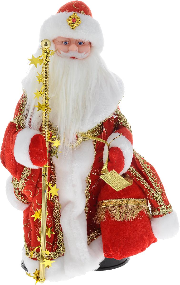 Фигурка новогодняя Winter Wings Дед Мороз, музыкальная, цвет: красный, золотой, высота 40 см. N05284N05284Декоративная музыкальная фигурка Winter Wings Дед Мороз изготовлена из пластика, полиэстера и ткани. Она подойдет для оформления новогоднего интерьера и принесет с собой атмосферу радости и веселья. Дед Мороз одет в длинную шубу с красивыми узорами, подвязанную ремешком с кисточками. На голове - шапка с мехом, на ногах - черные башмачки. В руках он держит посох и мешок с подарками. Его добрый вид и очаровательная густая, белая борода притягивают к себе восторженные взгляды. Новогодние украшения всегда несут в себе волшебство и красоту праздника. Создайте в своем доме атмосферу тепла, веселья и радости, украшая его всей семьей. Высота фигурки: 40 см. Фигурка работает от 4 батареек типа АА (батарейки в комплект не входят).