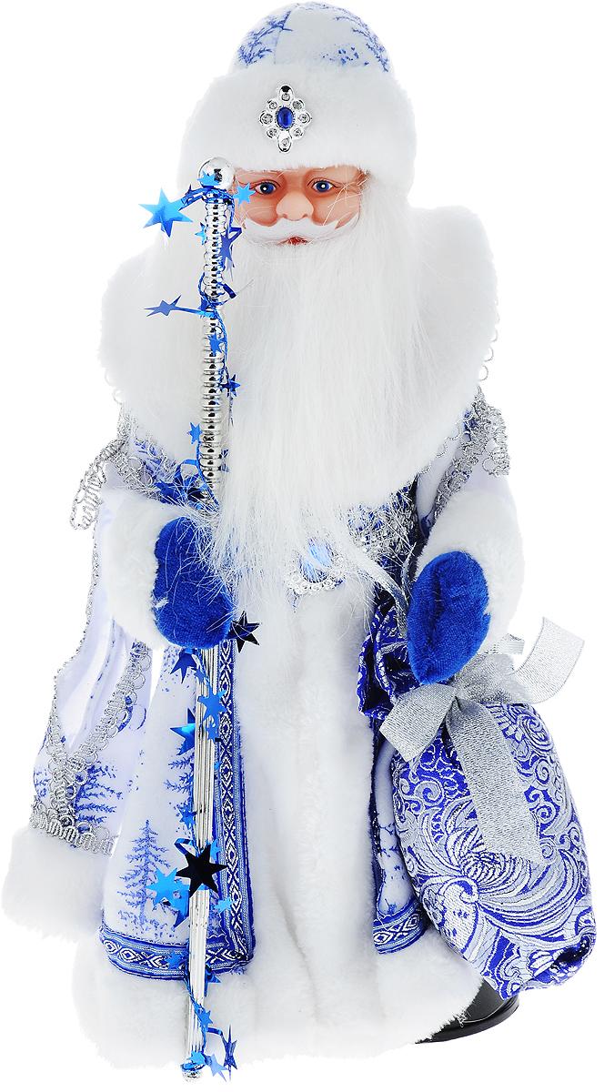 Фигурка новогодняя Winter Wings Дед Мороз, музыкальная, цвет: белый, синий, высота 40 см. N05287N05287Декоративная музыкальная фигурка Winter Wings Дед Мороз изготовлена из пластика, полиэстера и ткани. Она подойдет для оформления новогоднего интерьера и принесет с собой атмосферу радости и веселья. Дед Мороз одет в длинную шубу с красивыми узорами, подвязанную ремешком с кисточками. На голове - шапка с мехом, на ногах - черные башмачки. В руках он держит посох и мешок с подарками. Его добрый вид и очаровательная густая, белая борода притягивают к себе восторженные взгляды. Новогодние украшения всегда несут в себе волшебство и красоту праздника. Создайте в своем доме атмосферу тепла, веселья и радости, украшая его всей семьей. Высота фигурки: 40 см. Фигурка работает от 4 батареек типа АА (батарейки в комплект не входят).