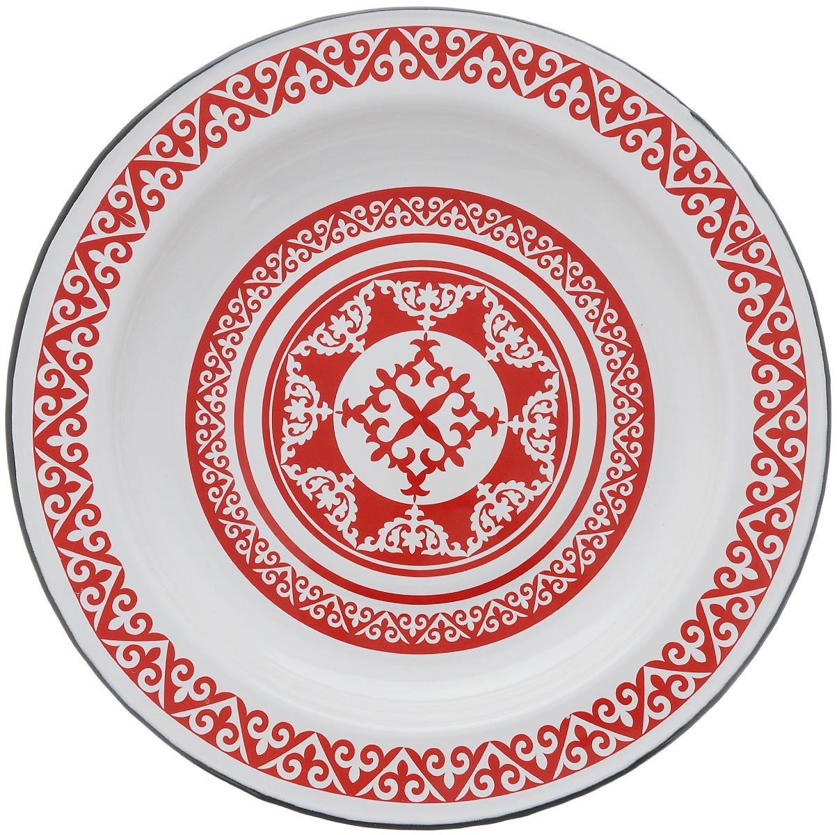 Блюдо СтальЭмаль Айша, диаметр 35,5 см1с6с/КОригинальное СтальЭмаль Айша, изготовленное из эмалированной, прекрасно подойдет для подачи нарезок, закусок и других блюд. Блюдо декорировано красивым узором. Оно украсит ваш кухонный стол, а также станет замечательным подарком к любому празднику. Диаметр блюда: 35,5 см. Высота стенки: 3,5 см.