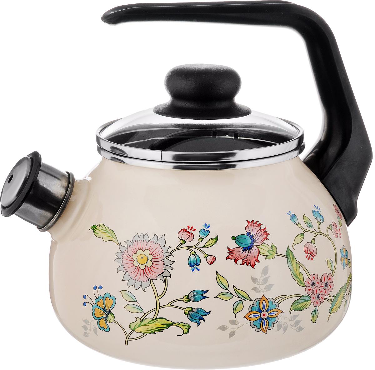 Чайник эмалированный СтальЭмаль Луговые цветы, со свистком, 2 л4с210/яЧайник СтальЭмаль Луговые цветы выполнен из высококачественного стального проката, покрытого двумя слоями жаропрочной эмали. Такое покрытие защищает сталь от коррозии, придает посуде гладкую стекловидную поверхность и надежно защищает от кислот и щелочей. Носик чайника оснащен свистком, звуковой сигнал которого подскажет, когда закипит вода. Чайник оснащен фиксированной ручкой из пластика и стеклянной крышкой, которая плотно прилегает к краю благодаря особой конструкции. Внешние стенки декорированы красочным цветочным рисунком. Эстетичный и функциональный чайник будет оригинально смотреться в любом интерьере. Подходит для всех типов плит, включая индукционные. Можно мыть в посудомоечной машине. Диаметр (по верхнему краю): 12,5 см. Высота чайника (с учетом ручки): 21 см. Высота чайника (без учета ручки и крышки): 12,5 см.