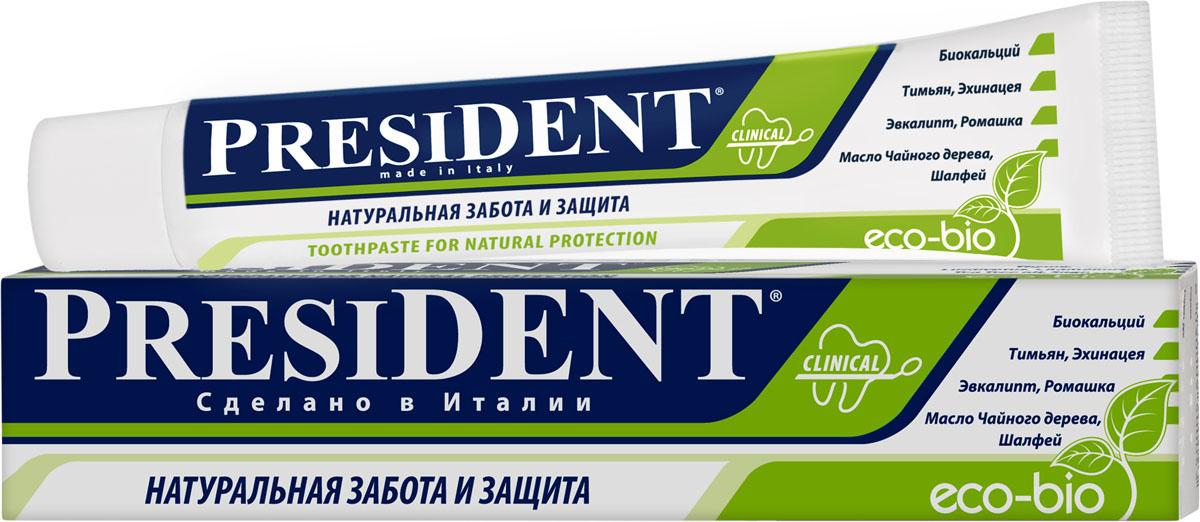 President Зубная паста Эко-био, 75 мл4310-11092Всем, кто выбирает для себя безопасную, экологически-чистую продукцию. На 95% состоит из натуральных компонентов. Не содержит консервантов, парабенов, SLS SLES, красителей, фтора, ментола и аллергенов. Подходит для сопровождения гомеопатического лечения, так как не содержит мяты. Деликатная экоформула стимулирует естественную защиту зубов и десен. Биокальций укрепляет зубную эмаль и бережно очищает от зубного налета. Успокаювающие и антибактериальные свойства экстрактов Ромашки, Шалфея и Эхинацеи поддерживают здоровье зубов и десен. Масла Эвкалипта и Гвоздики надолго освежает дыхание.