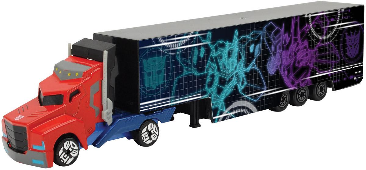 Dickie Toys Трейлер Optimus Prime цвет голубой фиолетовый3113006_голубой, фиолетовый, 203113006Трейлер Optimus Prime выполнен в виде грузовой машинки с длинным прицепом. Кузов прицепа оформлен оригинальным рисунком в тематике фильма Трансформеры. Колеса обладают свободным ходом. Мальчикам понравится коллекционировать такие машинки, ведь модели можно комбинировать, меняя кабины и прицепы между другими грузовиками серии. Ваш ребенок часами будет играть с машинками, придумывая различные истории и устраивая соревнования. Порадуйте его таким замечательным подарком!