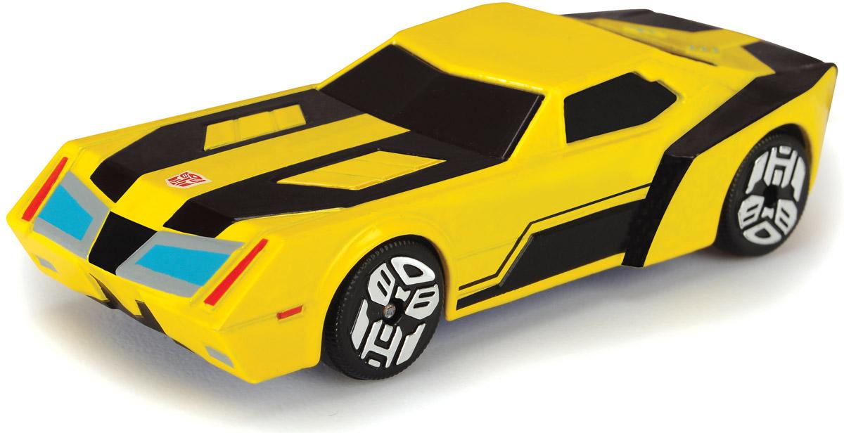 Dickie Toys Машинка Bumblebee с 3D карточкой3111001_желтый/черныйТеперь в схватке с противником любимый герой мультфильма всегда будет оставаться победителем! Машинка Dickie Toys Bumblebee выполнена из металла и пластика в виде героя мультсериала Transformers: Robots in Disguise. Колеса свободно вращаются. На днище машинки находится кнопка, которая включает подсветку. В комплекте с машинкой также идет 3D карточка коллекционера. Для работы игрушки необходима 1 батарейка типа CR1220 (товар комплектуется демонстрационной).