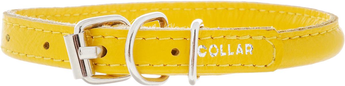 Ошейник для собак CoLLaR Glamour, цвет: желтый, ширина 8 мм, толщина 6 мм, обхват шеи 20-25 см22408Ошейник CoLLaR Glamour изготовлен из кожи, устойчивой к влажности и перепадам температур. Клеевой слой, сверхпрочные нити, крепкие металлические элементы делают ошейник надежным и долговечным. Изделие отличается высоким качеством, удобством и универсальностью. Размер ошейника регулируется при помощи металлической пряжки. Имеется металлическое кольцо для крепления поводка. Ваша собака тоже хочет выглядеть стильно! Модный ошейник с уплотнением по всей длине не только не будет натирать шею вашему любимцу, но и станет для питомца отличным украшением и выделит его среди остальных животных. Минимальный обхват шеи: 20 см. Максимальный обхват шеи: 25 см. Диаметр: 0,8 см.