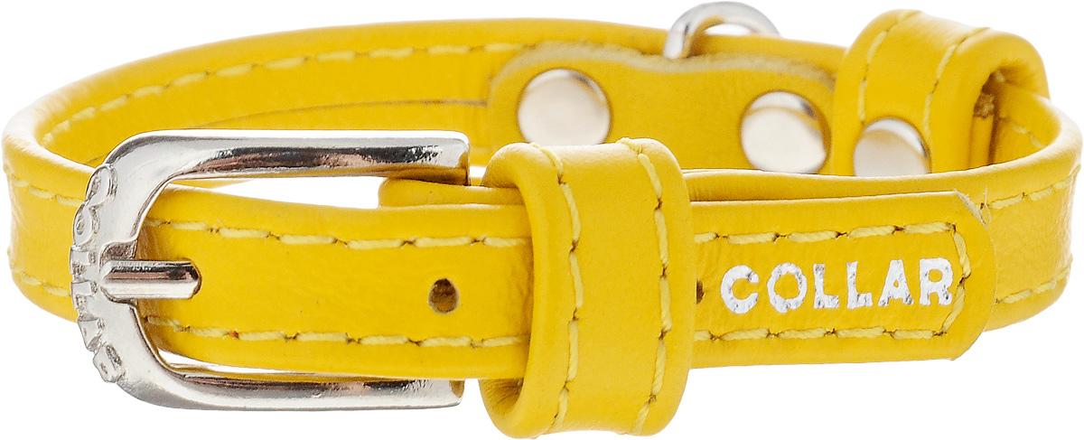 Ошейник для собак CoLLaR Glamour, цвет: желтый, ширина 9 мм, обхват шеи 18-21 см. 320032008Ошейник CoLLaR Glamour изготовлен из кожи, устойчивой к влажности и перепадам температур. Клеевой слой, сверхпрочные нити, крепкие металлические элементы делают ошейник надежным и долговечным. Изделие отличается высоким качеством, удобством и универсальностью. Размер ошейника регулируется при помощи металлической пряжки. Имеется металлическое кольцо для крепления поводка. Ваша собака тоже хочет выглядеть стильно! Такой модный ошейник станет для питомца отличным украшением и выделит его среди остальных животных. Минимальный обхват шеи: 18 см. Максимальный обхват шеи: 21 см. Ширина: 9 мм.