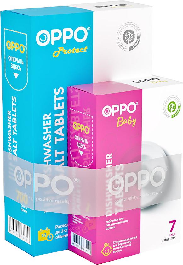 Комплект для посудомоечных машин Oppo Salt700 + Baby7: соль Protect 700 г, таблетки Baby, 7шт х 20 г46271217802132 по цене 1