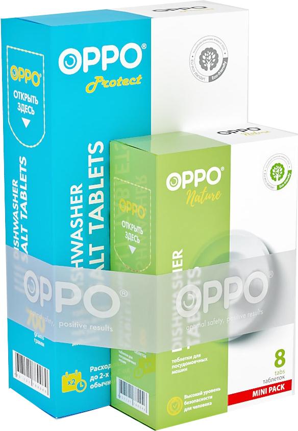 Комплект для посудомоечных машин Oppo Salt700+Nature8: соль Protect 700 г, таблетки Nature, 8шт х 20 г46271217802202 по цене 1