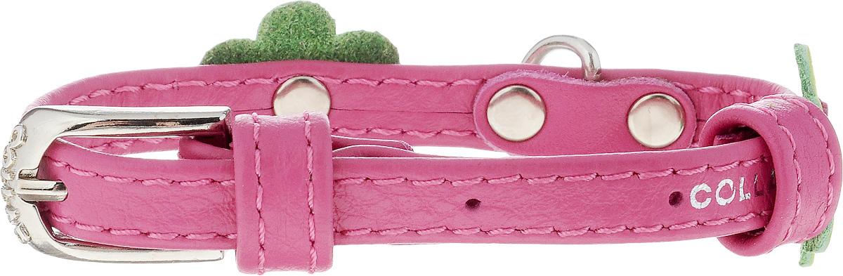 Ошейник для собак CoLLaR Glamour Аппликация, цвет: розовый, зеленый, ширина 9 мм, обхват шеи 19-25 см34997Ошейник CoLLaR Glamour Аппликация изготовлен из кожи, устойчивой к влажности и перепадам температур. Клеевой слой, сверхпрочные нити, крепкие металлические элементы делают ошейник надежным и долговечным. Изделие отличается высоким качеством, удобством и универсальностью. Размер ошейника регулируется при помощи металлической пряжки. Имеется металлическое кольцо для крепления поводка. Ваша собака тоже хочет выглядеть стильно! Модный ошейник с аппликацией в виде цветов станет для питомца отличным украшением и выделит его среди остальных животных. Минимальный обхват шеи: 19 см. Максимальный обхват шеи: 25 см. Ширина: 9 мм.
