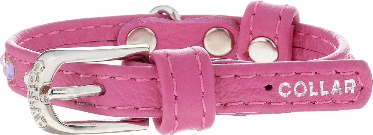 Ошейник для собак CoLLaR Glamour, цвет: розовый, ширина 9 мм, обхват шеи 18-21 см32507Ошейник CoLLaR Glamour изготовлен из кожи, устойчивой к влажности и перепадам температур. Клеевой слой, сверхпрочные нити, крепкие металлические элементы делают ошейник надежным и долговечным. Изделие отличается высоким качеством, удобством и универсальностью. Размер ошейника регулируется при помощи металлической пряжки. Имеется металлическое кольцо для крепления поводка. Ваша собака тоже хочет выглядеть стильно! Модный ошейник, декорированный стразами, станет для питомца отличным украшением и выделит его среди остальных животных. Минимальный обхват шеи: 18 см. Максимальный обхват шеи: 21 см. Ширина: 9 мм.