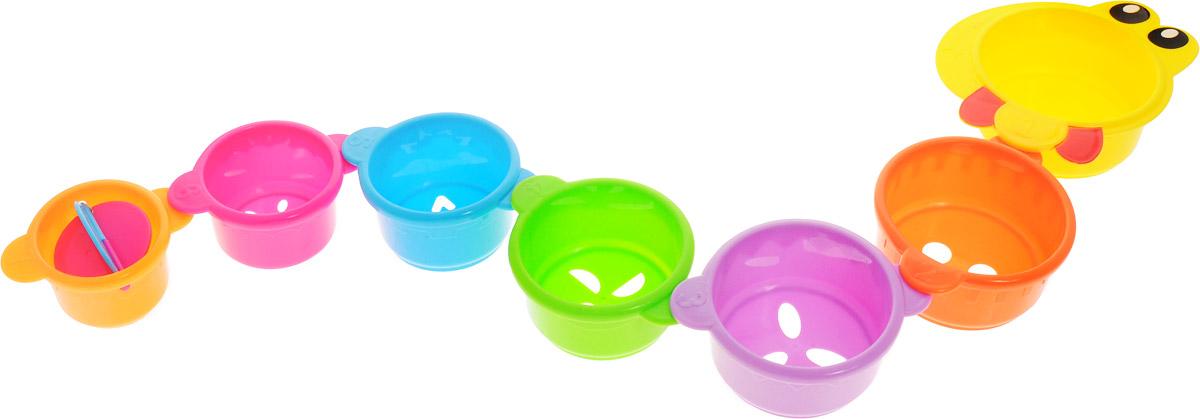 Малышарики Игрушка для ванной Змейка цвет желтыйMSH0304-005_желтыйИгрушка для ванной Малышарики Змейка выполнена в ярком дизайне из безопасных материалов. Игрушка состоит из семи элементов в виде стаканчиков разных размеров и цветов. Благодаря специальным креплениям, стаканчики с фигурными отверстиями можно соединить в длинную змейку, либо построить высокую пирамидку. Самый маленький стаканчик содержит крышечку-карусель. Игрушка Змейка превратит купание в увлекательную игру, развивая при этом мелкую моторику и концентрацию внимания малыша, а также воображение и творческие способности. Рекомендуемый возраст: 1-3 года.